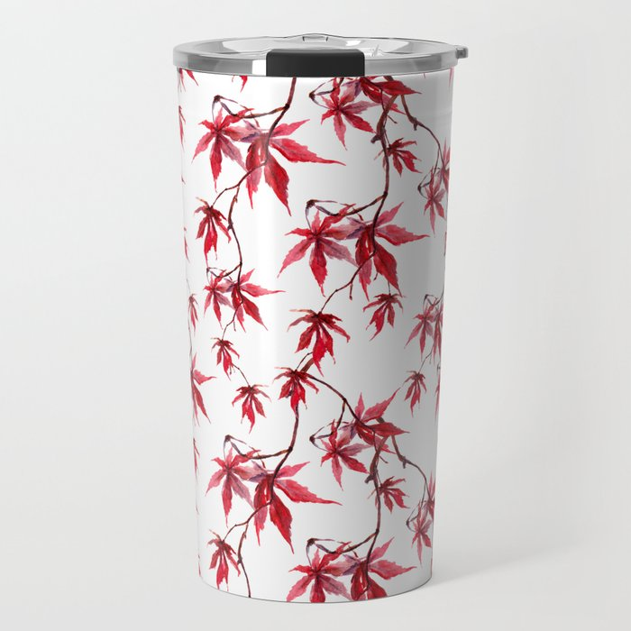 Watercolor Botanical Red Japanese Maple Leaves on Solid White Background Travel Mug
