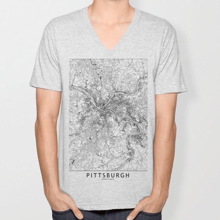 Pittsburgh White Map Unisex V-Neck