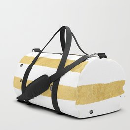 Modern hand painted yellow gold black watercolor splatters stripes Duffle Bag