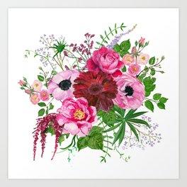 Burgundy bouquet Art Print