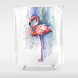 Pink Flamingo Watercolor Tropical Animals Birds Shower Curtain