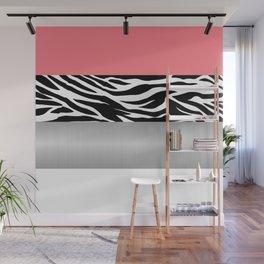 Pink Zebra Metallic White Stripes Horizontal Wall Mural