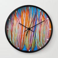 grass Wall Clocks featuring Grass by Brontosaurus