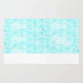Aqua Blue Damask Rug