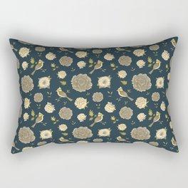 Peonies and Birds Vintage Floral Pattern Rectangular Pillow
