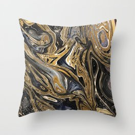 Black and Gold Liquid Marble Throw Pillow