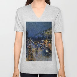 Boulevard Montmartre at Night by Camille Pissarro Unisex V-Neck