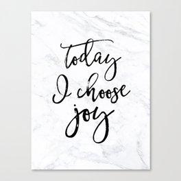 Choose Joy - Marble Canvas Print