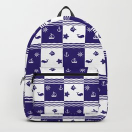 Navy Pattern Backpack