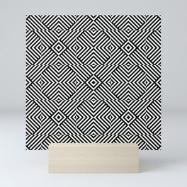 Black and white op art pattern with striped lines and squares Mini Art Print