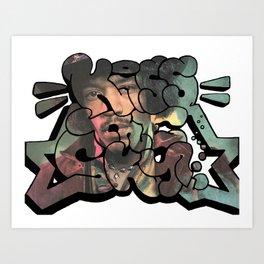 """Kiss The Sky"" Hendrix Design Art Print"