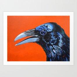 Orange Crow Art Print