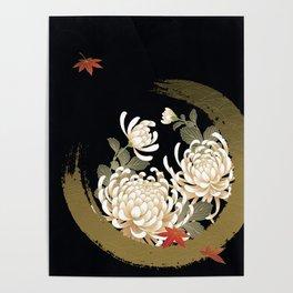 White Peonies Red Maple Leaves Japanese Kimono Pattern Poster