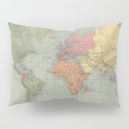 Vintage Map of The World (1889) Pillow Sham