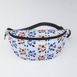 Poly Plant Pattern Red Blue Black  Fanny Pack