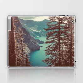 Vintage Blue Crater Lake and Trees - Nature Photography Laptop & iPad Skin