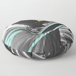 Fan Service II - Tropical Palm Leaves Modern Mixed Media Photography Illustration Floor Pillow