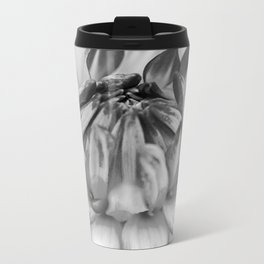 Black and White Flower Metal Travel Mug