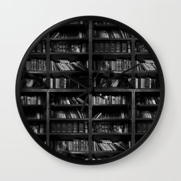 Antique Library Shelves - Books, Books and More Books Wall Clock
