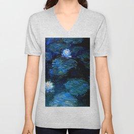 monet water lilies 1899 Blue teal Unisex V-Neck
