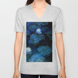 monet water lilies 1899 Blue teal Unisex V-Neck