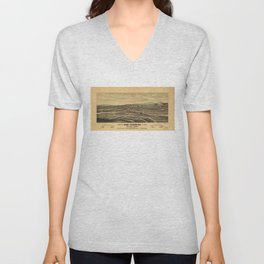 Aerial View of Los Angeles, California (1877) Unisex V-Neck