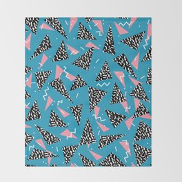 80s Abstract memphis pattern trendy modern pattern print pink black and blue Throw Blanket