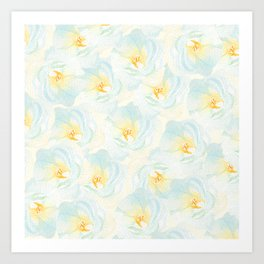 Watercolor hand painted pastel blue yellow floral pattern Art Print