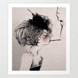 A sexy smoker Art Print