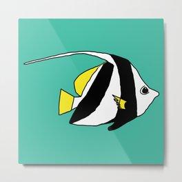 Schooling Bannerfish natural colors Metal Print