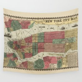 Miller's Map of the City of New York (1862) Wall Tapestry