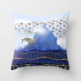 Flying Sea Lion Over Rising Oceans - Surreal Climate Change Painting Throw Pillow