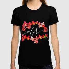 Abstract Aloha Orchid Lei - Orange Black T-shirt