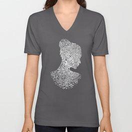Fingerprint Silhouette Portrait Unisex V-Neck
