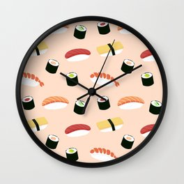 Lovely Japanes sushi drawing illustration on pastel background. Maki ands rolls with tuna, salmon, shrimp, crab. Wall Clock