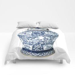 Blue & White Chinoiserie Cranes Porcelain Ginger Jar Comforters