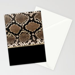 Modern black brown gold snake skin animal print Stationery Cards