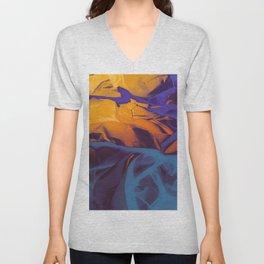 Orange, Purple and Blue Abstract. Mixed Media. Unisex V-Neck