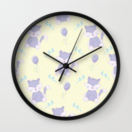 Happy Birthday Purple Fox on Yellow Background Pattern Wall Clock