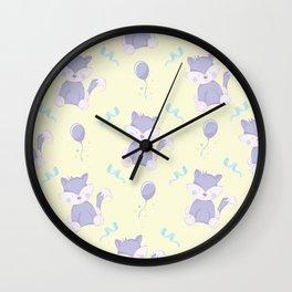 Happy Birthday Purple Fox on Yellow Background Pattern Wall Clock