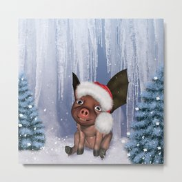 Christmas, cute little piglet Metal Print