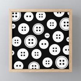 Black and White Buttons Pattern Framed Mini Art Print