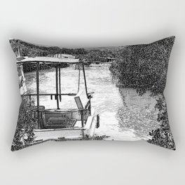 Boats and river in black and white Rectangular Pillow