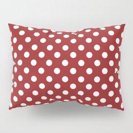 Sangria Red and White Polka Dot Pattern Pillow Sham