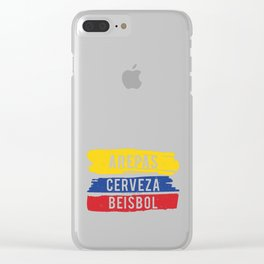 Arepas Cerveza Beisbol print Colombian baseball fan Gift Clear iPhone Case
