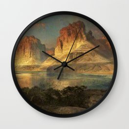 Nearing Camp, Evening on the Upper Colorado River, Wyoming by Thomas Moran Wall Clock