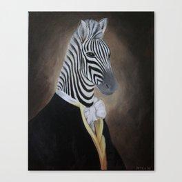 Zebra - acrylic painting, surrealistic animal portrait Canvas Print