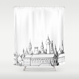 fabulous city . art . black and white Shower Curtain