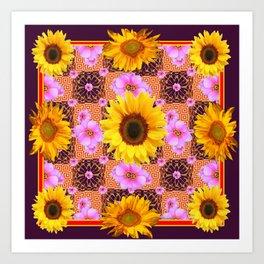 Western Style Burgundy Sunflower Art in Pink Art Print