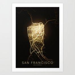 san francisco California city night light map Art Print